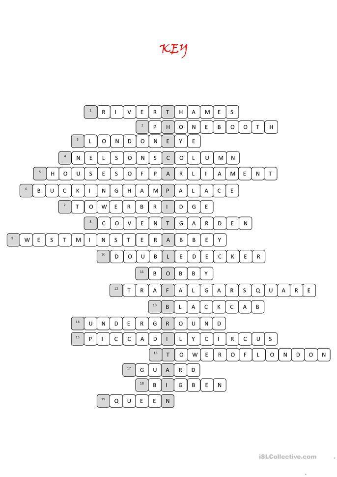 London Tour Crossword Puzzle London Tours Crossword Crossword Puzzle