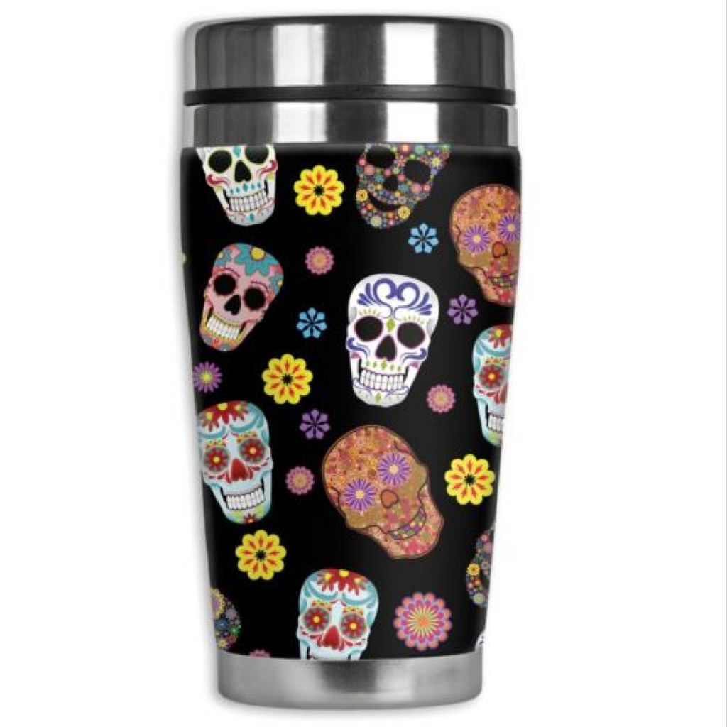 Leather /& Stainless Steel Insulated Travel Mug Cup Sugar Candy Skull