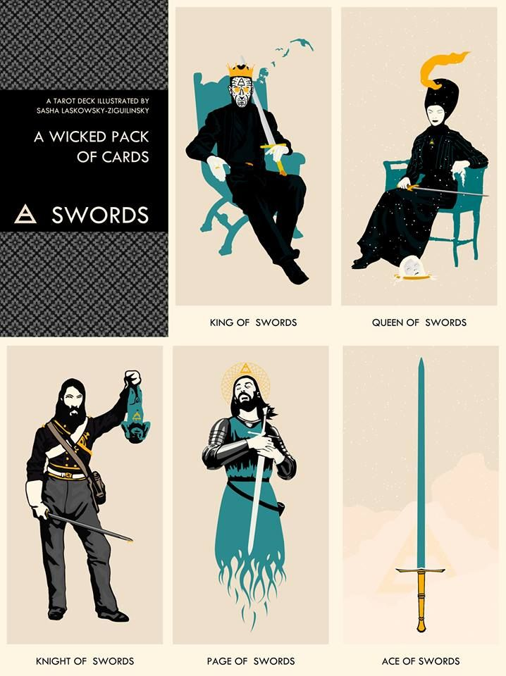 A Wicked Pack of Cards: Court of SWORDS ~ Original art by Sasha Laskowsky-