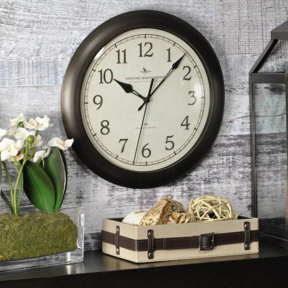 11 Slim Round Wall Clock Oil Rubbed Bronze Firstime Target Wall Clock Wall Clock Classic Traditional Wall Clocks Oil rubbed bronze wall clock