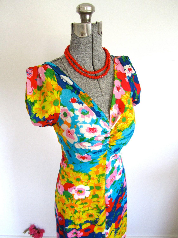 Sz m s maxi dress bright floral sweetheart neckline short
