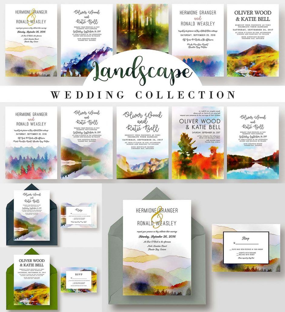 Landscape wedding invitations collection includes: wedding ...