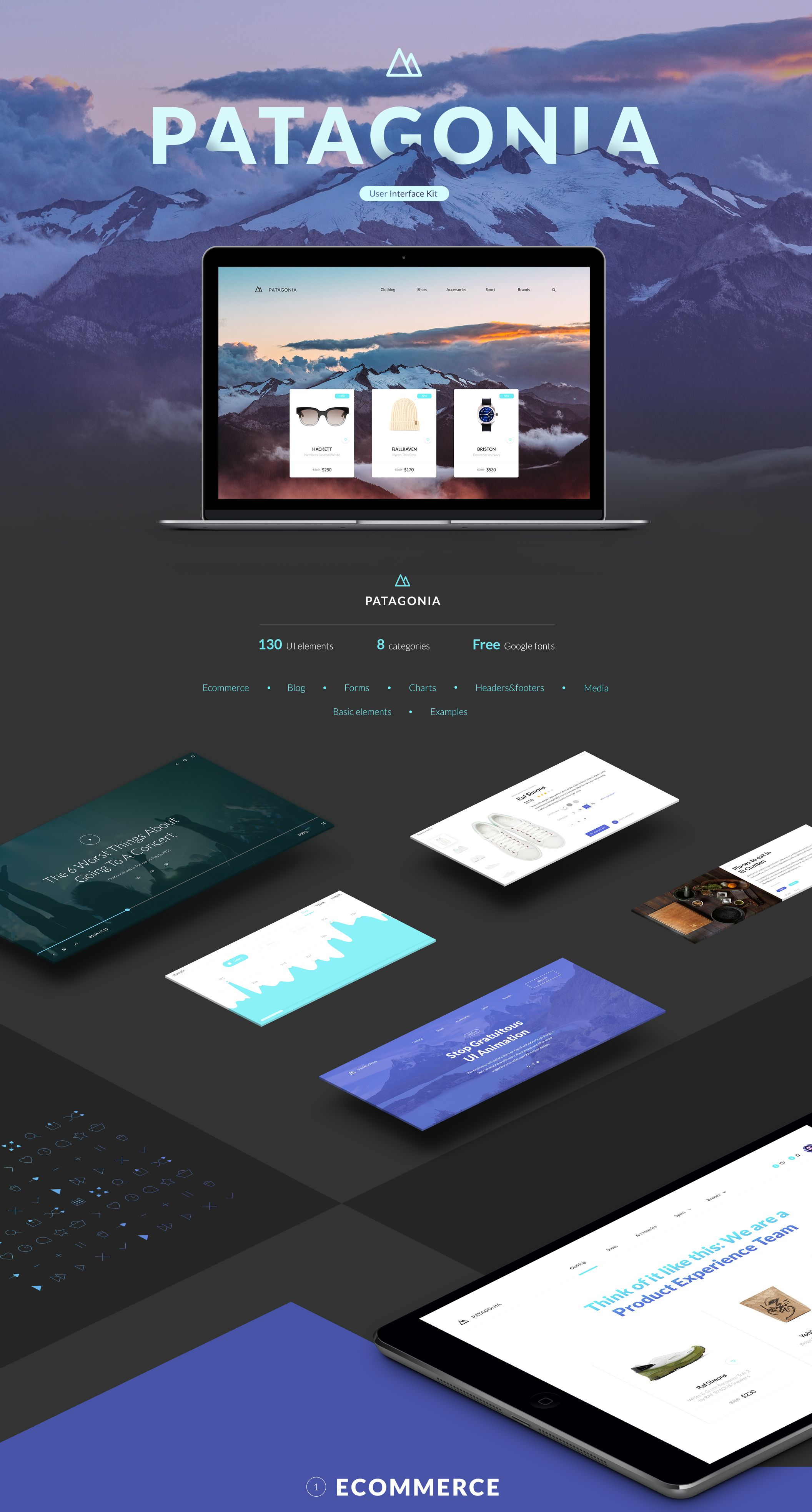 Patagonia UI is a web Ecommerce UI Kit crafted in Photoshop, using a