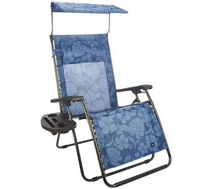Medium image of bliss hammocks deluxe xl gravity free recliner with canopy  u0026 tray   m45745  u2014 qvc