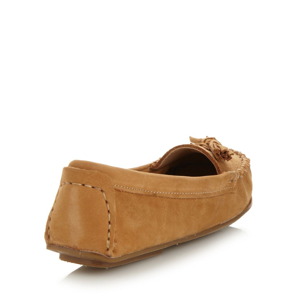 These light tan loafers from Soul of Africa are made from soft, breathable leather with tassel trims and a flexible rubber outsole. They are hand stitched as part of the 'Aid Through Trade' charity project to create employment for those in need.
