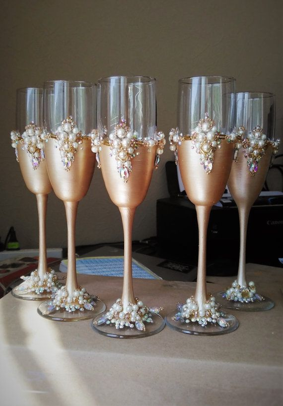 Personalized wedding glasses wedding party by WeddingArtGallery ...