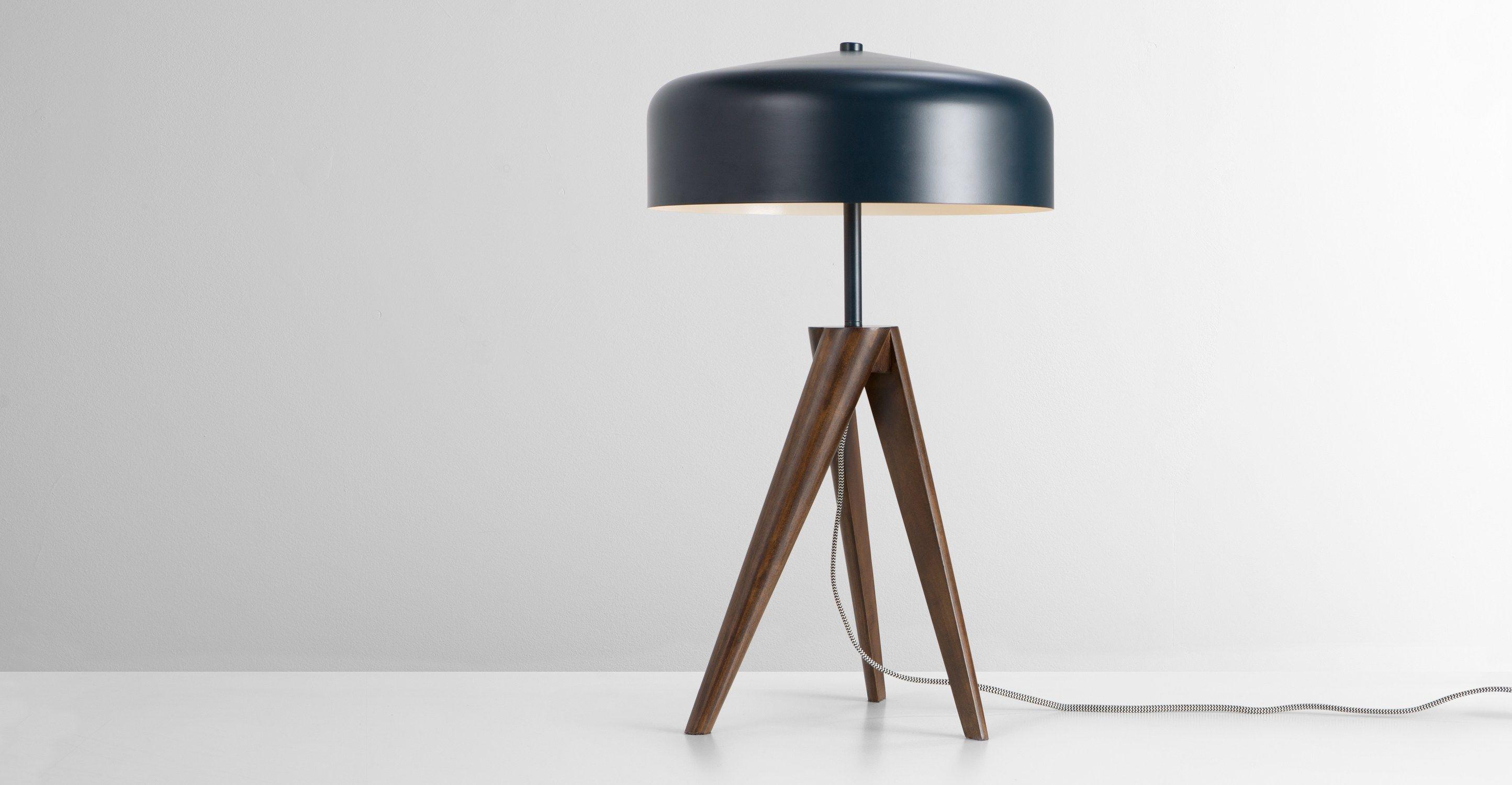 Madison lampe de table bleu marine et bois foncé