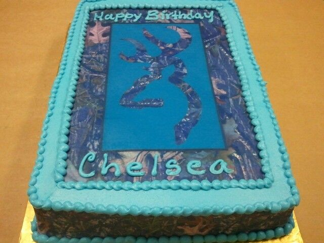 Quarter Sheet Browning and Mossy Oak Camo Cake with Blue