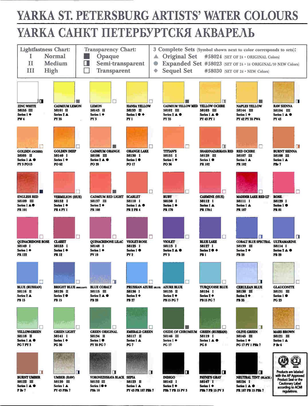 Yarka St Petersberg Watercolor Paint Charts Watercolor Artist