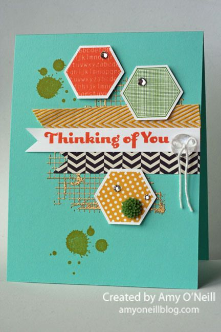 Stampin' Up! stamp sets,  gorgeous Grunge & Six Sided Sampler, hexagon punch, chevron ribbon; by Amy O'Neill, Amy's Paper Crafts