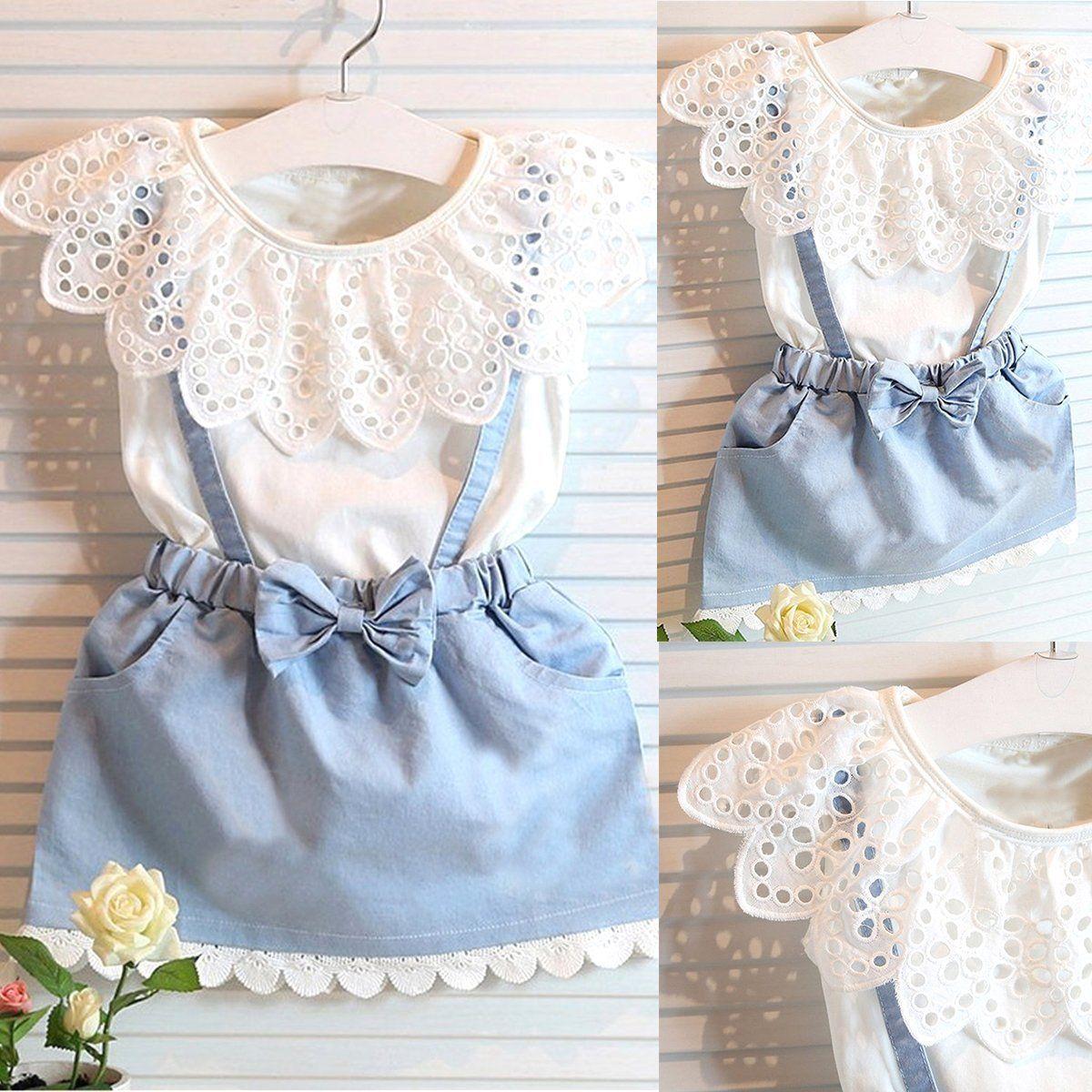 c3a62e96cd47 2Pcs Kids Baby Girl Toddler Summer Clothes T-Shirt Tops+Denim Skirt Outfits  Sets