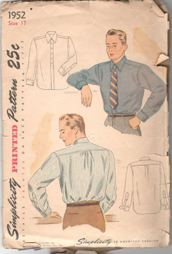 1940s Simplicity 1952 Mens Long Sleeve Shirt Pattern Detachable