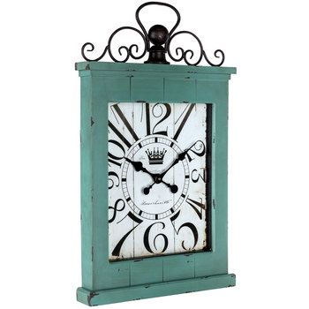 Large Antique Turquoise Metal & Wood Wall Clock   Wall Decor ...