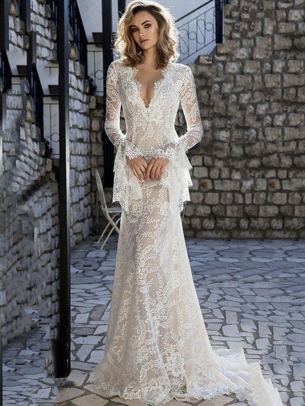 114b66a1143 Lace Flared Sleeves V-back Evening Dress Big Bust Wedding Dress