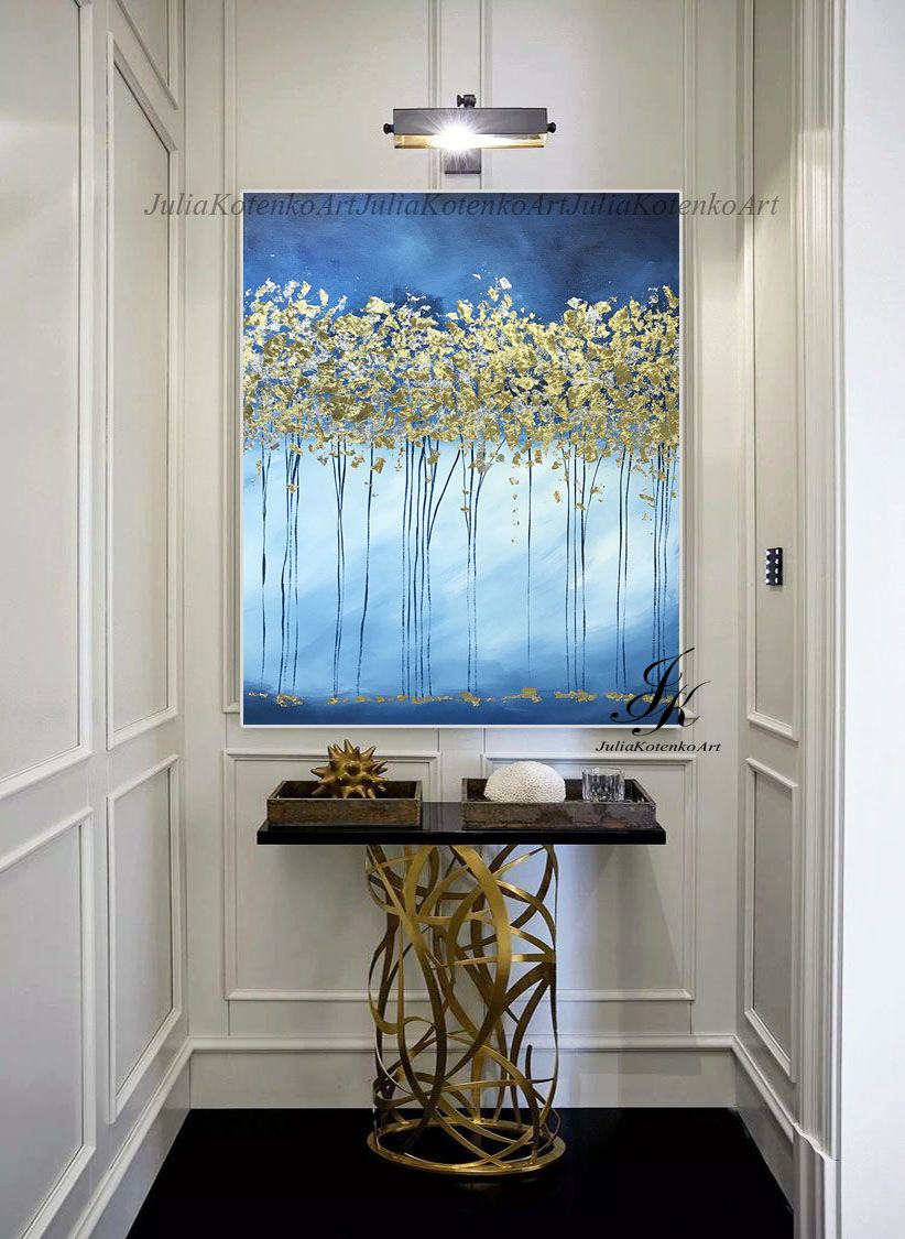 Large Abstract Trees Oil Painting Gold Leaf Art By Julia