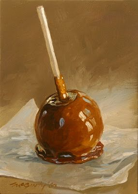 Drawing Of A Caramel Apple Paint Google Search Food Painting Apple Painting Apple Art
