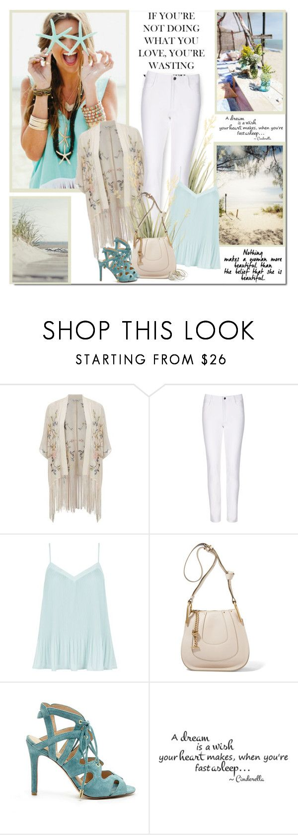 """""""If you are not doing what you love, you are wasting your time!!"""" by lilly-2711 ❤ liked on Polyvore featuring Miss Selfridge, Winser London, New Look, Chloé, Joe's Jeans, sandals, whitejeans, chloe, kimonos and summer2016"""