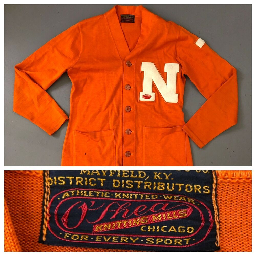 f40549f59a9cb Vtg 1940s Letterman Sweater O'Shea Knitting Mill Football School Letter  Cardigan