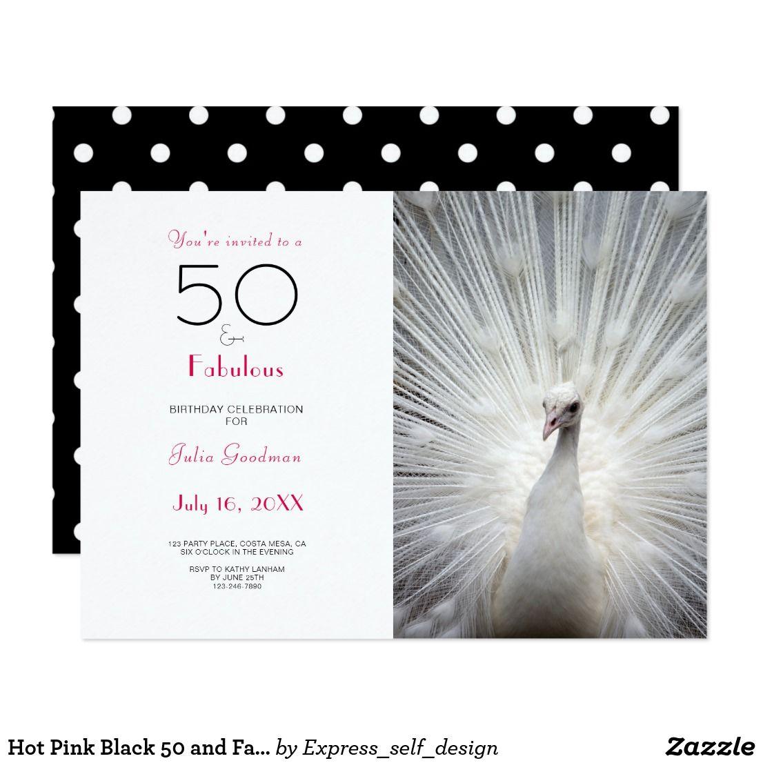 Hot Pink Black 50 and Fabulous Birthday Invitation | 50th Birthday ...