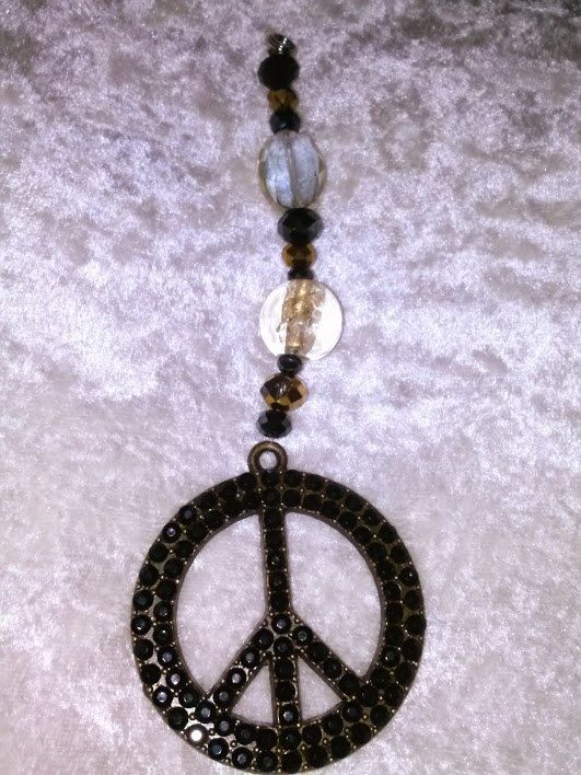 15% off, Black and Gold, Large Peace Sign, Rear View Mirror Charm, Sun Catcher, by EarthDreamsbySunLi on Etsy