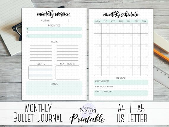 Printable monthly bullet journal - monthly log, monthly planner, dot