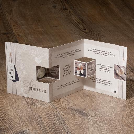 Moderne Hochzeitseinladung Aus Strukturpapier Mit Pop Up Effekt Karte Hochzeit Einladungen Hochzeitskarten