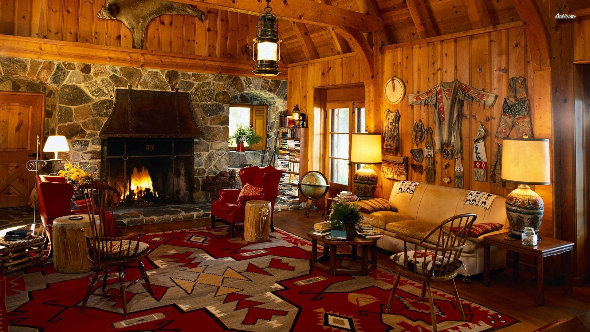 Christmas Cabin Fireplace Wallpaper Wallpaper Kid