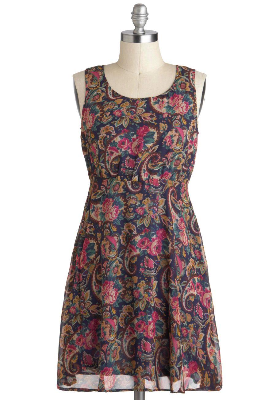 Hit the Dance Fleur Dress - Short, Multi, Blue, Pink, Floral, Paisley, Exposed zipper, Vintage Inspired, 70s, Empire, Sleeveless