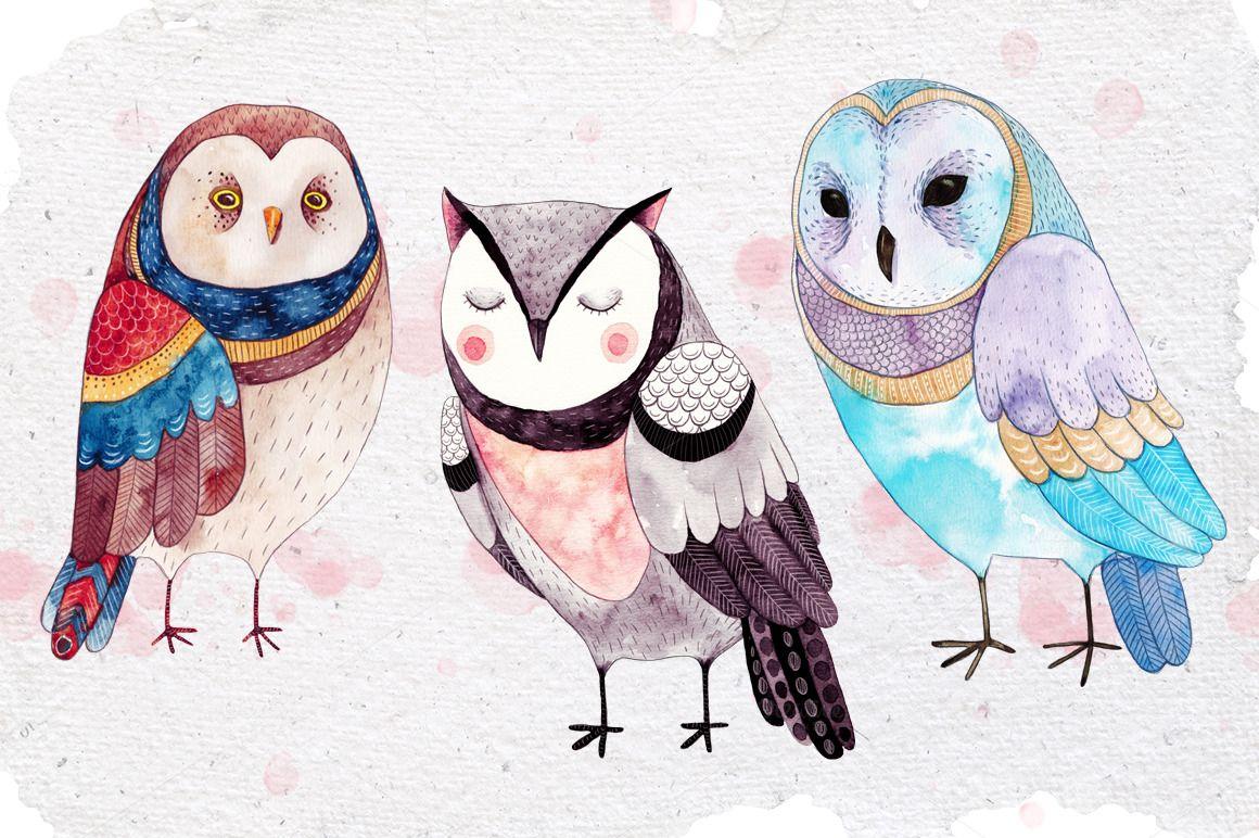 Three little owls by Liten Fågel Studio on @creativemarket