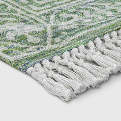 Green Patterned Woven Area Rug Area Rugs Green Pattern