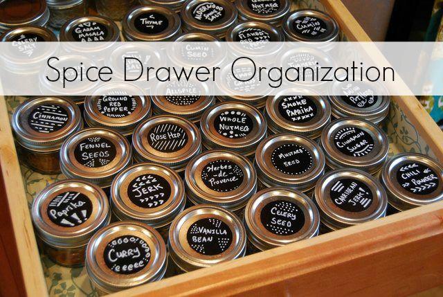 Spice Drawer Organization With Mini Jelly Jars Theborrowedabode Com