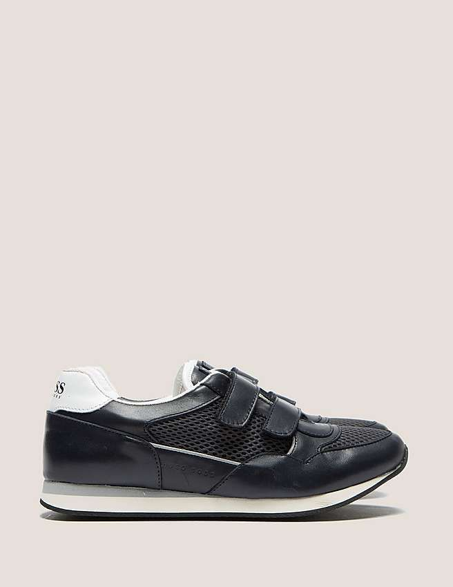 grey Boss Kids' Velcro Low Trainer