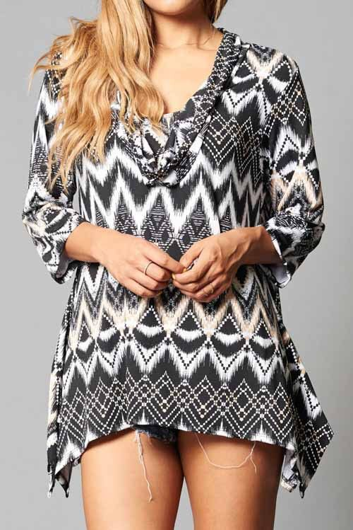Plus Size Printed 3/4 Sleeve Top - Purchase this now at kyootklothing.com!