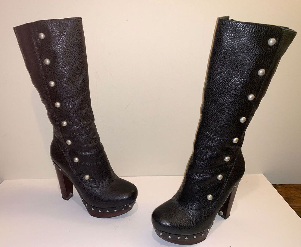 60a2cf80c66 UGG COSIMA TALL Fashion High Heel Platform Boots 1001615 BLACK SZ 9 ...
