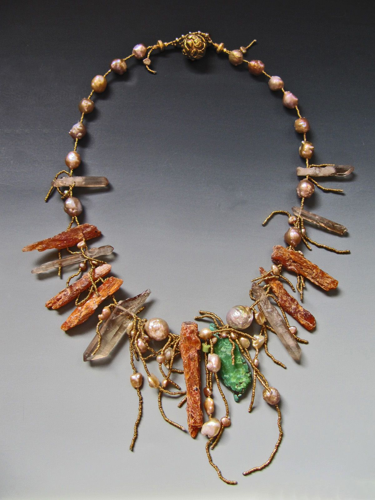 Lucia Antonelli - Orange Kyanite, quartz crystal, turquoise, Rosebud fresh water pearls, antique French brass seed beads