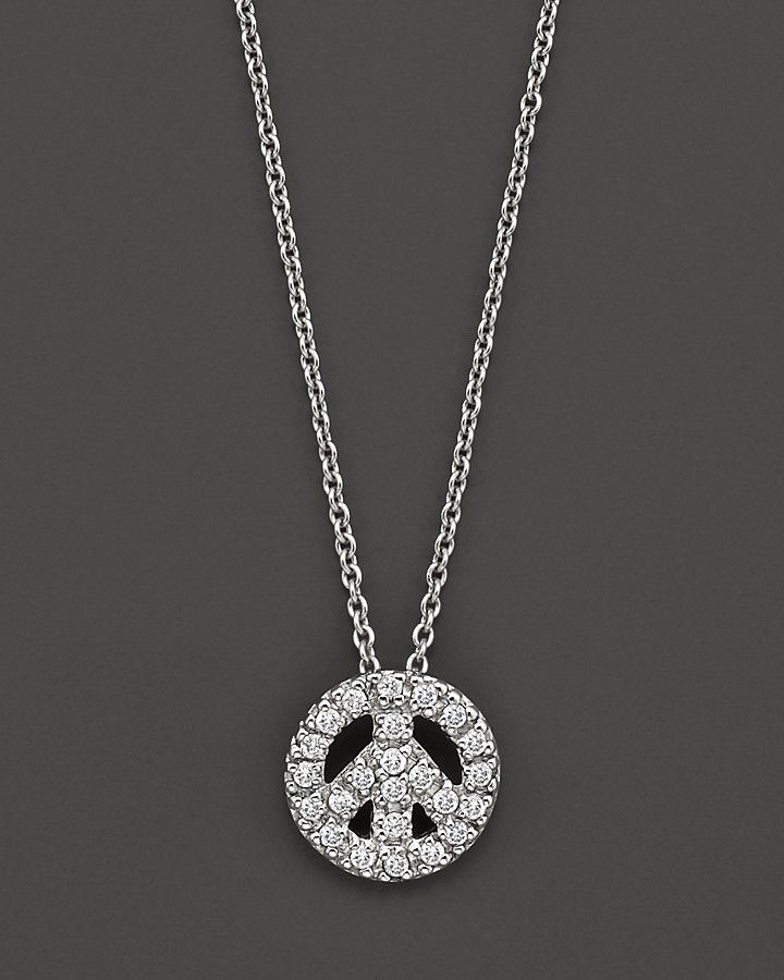 5ed0792a6b7e Roberto Coin 18K White Gold and Diamond Peace Sign Necklace