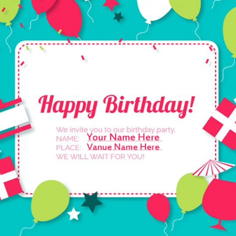Happy Birthday Invitation Card With Name Contoh
