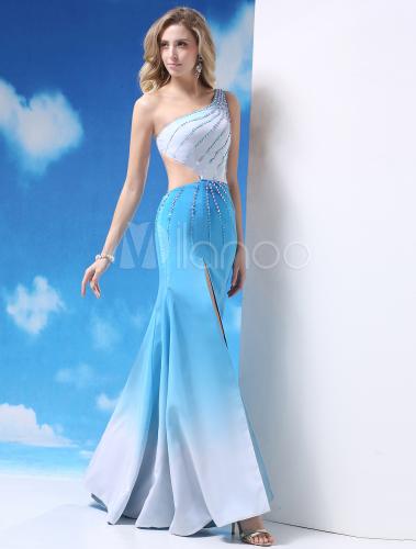 Vestido de fiesta de satén elástico de celeste claro de un solo hombro -  Milanoo.com 9c342224a8f5