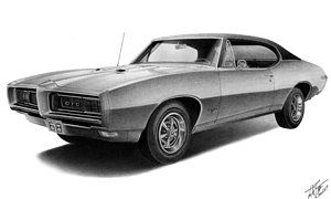 Muscle Car Drawing 1968 Gto By Lyle Brown 1 Fav Muscle Cars Art