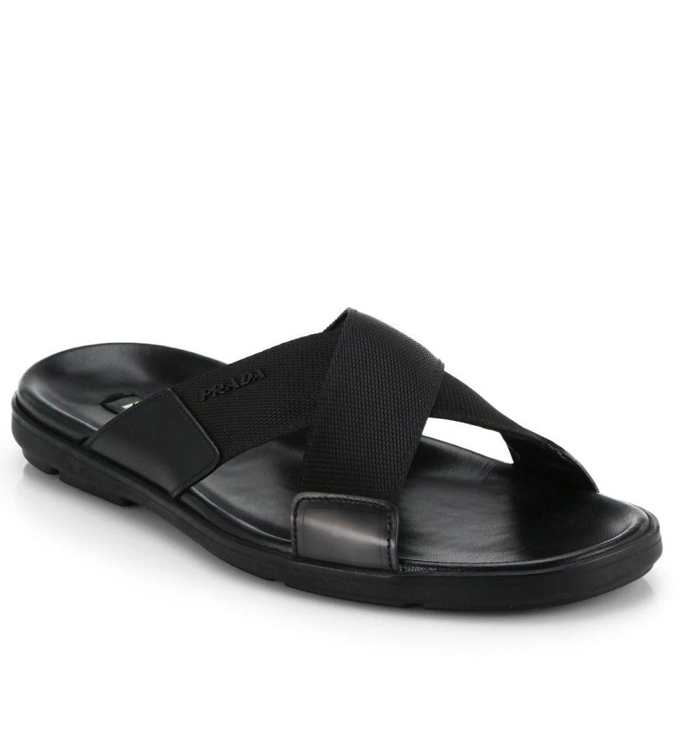 420d4d41c Prada Nylon Cross-Strap Sandals Black  98.00