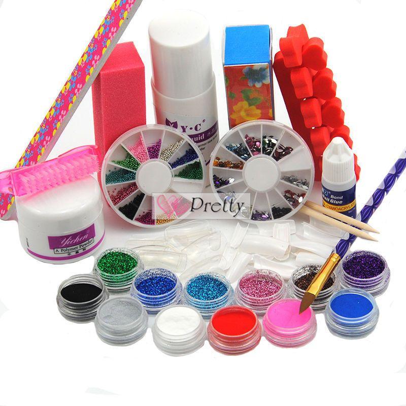 Clear Acrylic Powder Glitter Liquid Nail Art Tips Glue Brush File