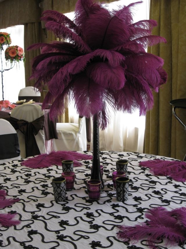 White Ostrich Feather Centerpiece Feather Centerpiece