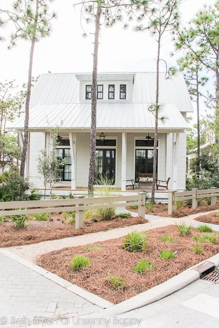 Watercolor House Tour  Love The White Siding With Dark Bronze Windows And A  Tin Roof (makes Me Want To Totally Change The Color Scheme Of My House!