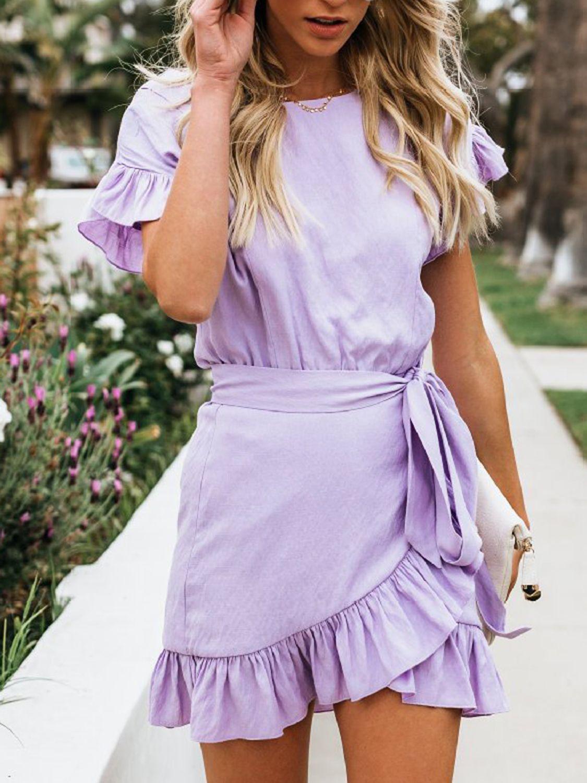 mini dresses, Purple dress casual