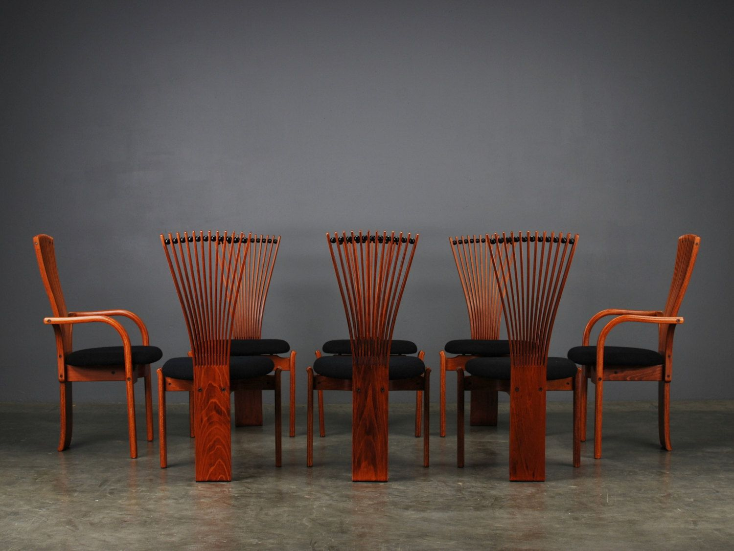 Totem Fan Back Dining Chairs Torstein Nilsen For Westnofa Norway Circa 1985 Beech