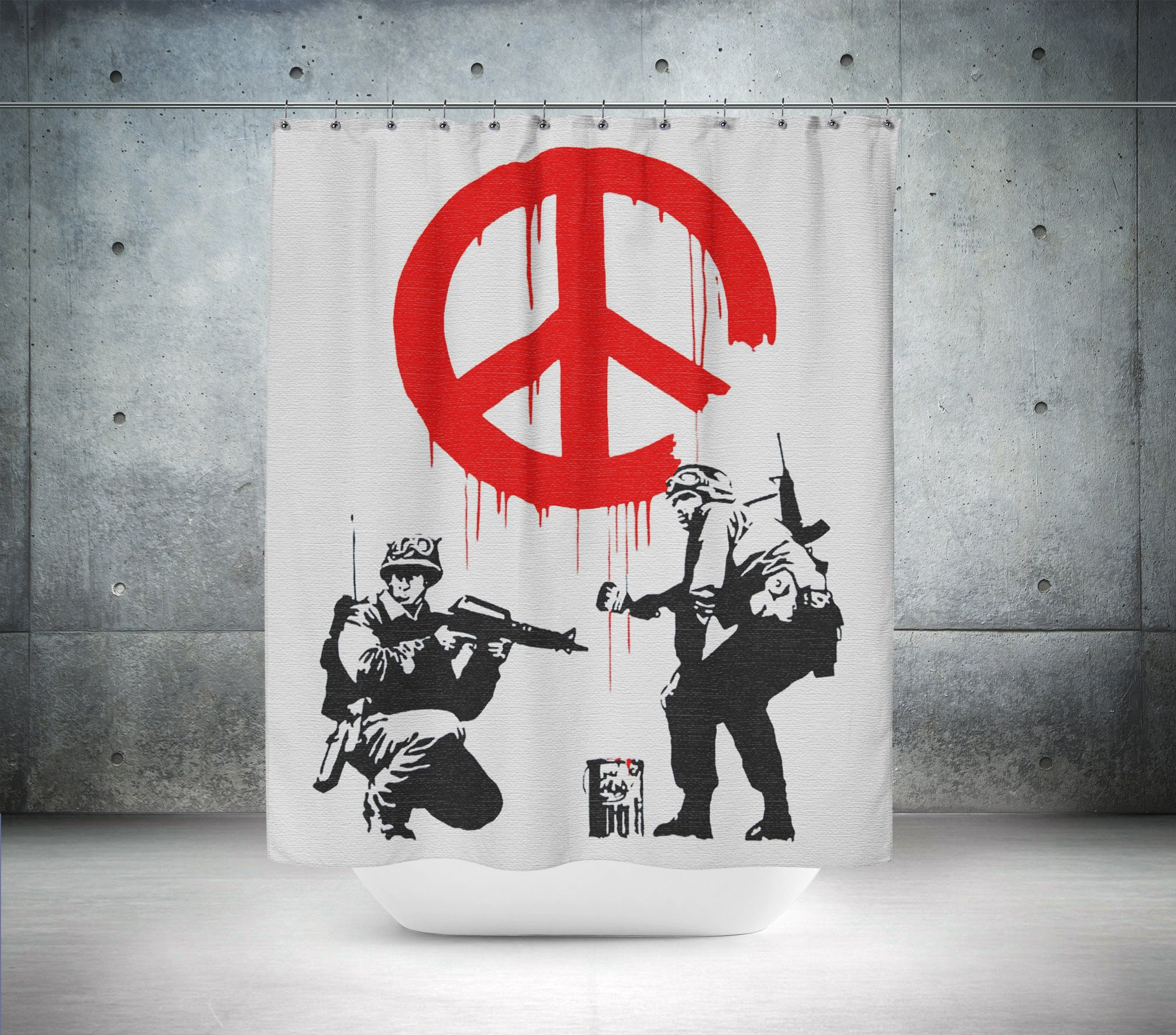 Soldiers Painting Peace By Banksy Shower Curtain Banksy Art Banksy