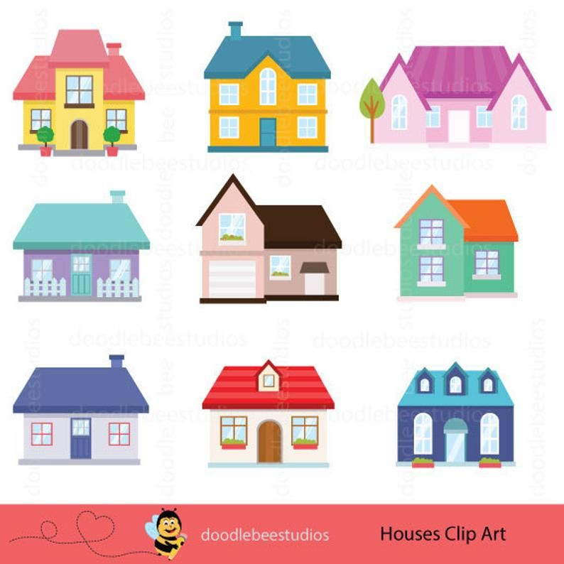 Houses Clipart Houses Clip Art Buildings Clipart Cottage Etsy House Clipart Clip Art House Illustration