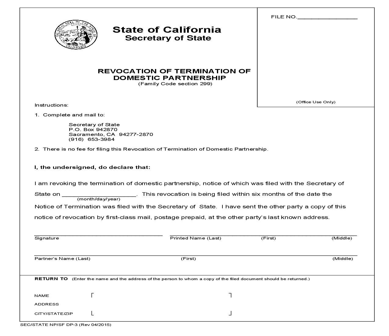 This is a California form that can be used for Domestic