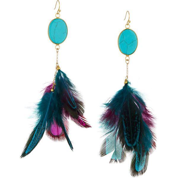 Panacea Druzy & Feather Drop Earrings o5dVNPk
