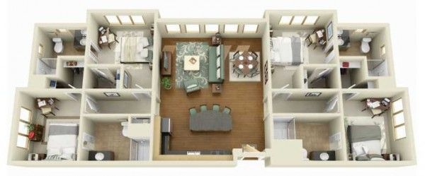 4 Bedroom Apartment House Plans 29 Home Layout Example